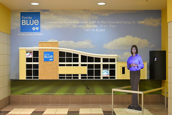 custom wall mural and display for Florida Blue Insurance