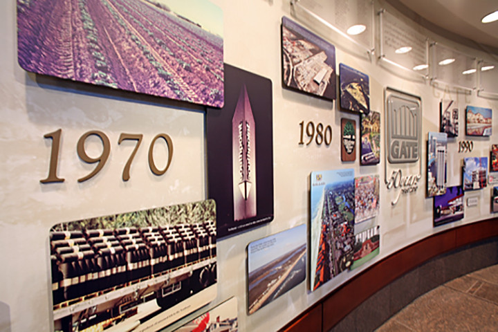 environmental design displaying 50 years history of a company