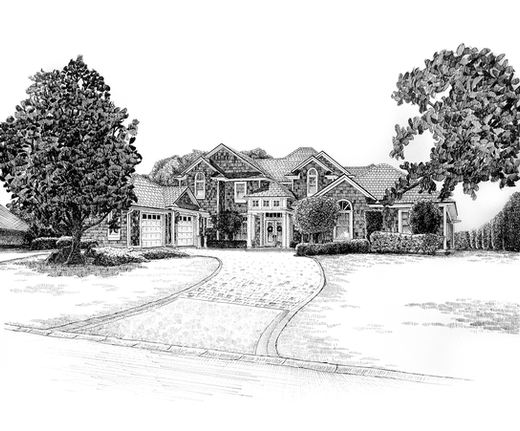 original pen and ink illustration of a beautiful two story home by Bill FitzGibbon