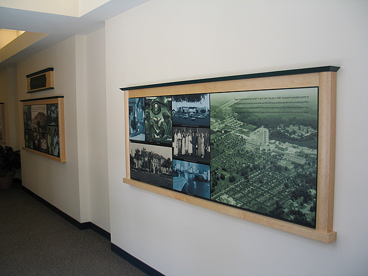 wall display of aerial photo of Flagler county