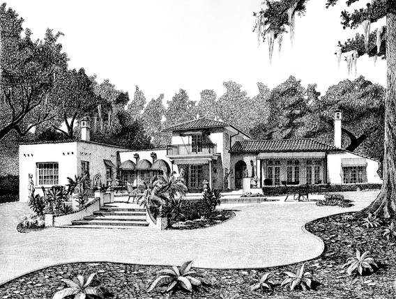 Wedding house pen and ink by Bill FitzGibbon
