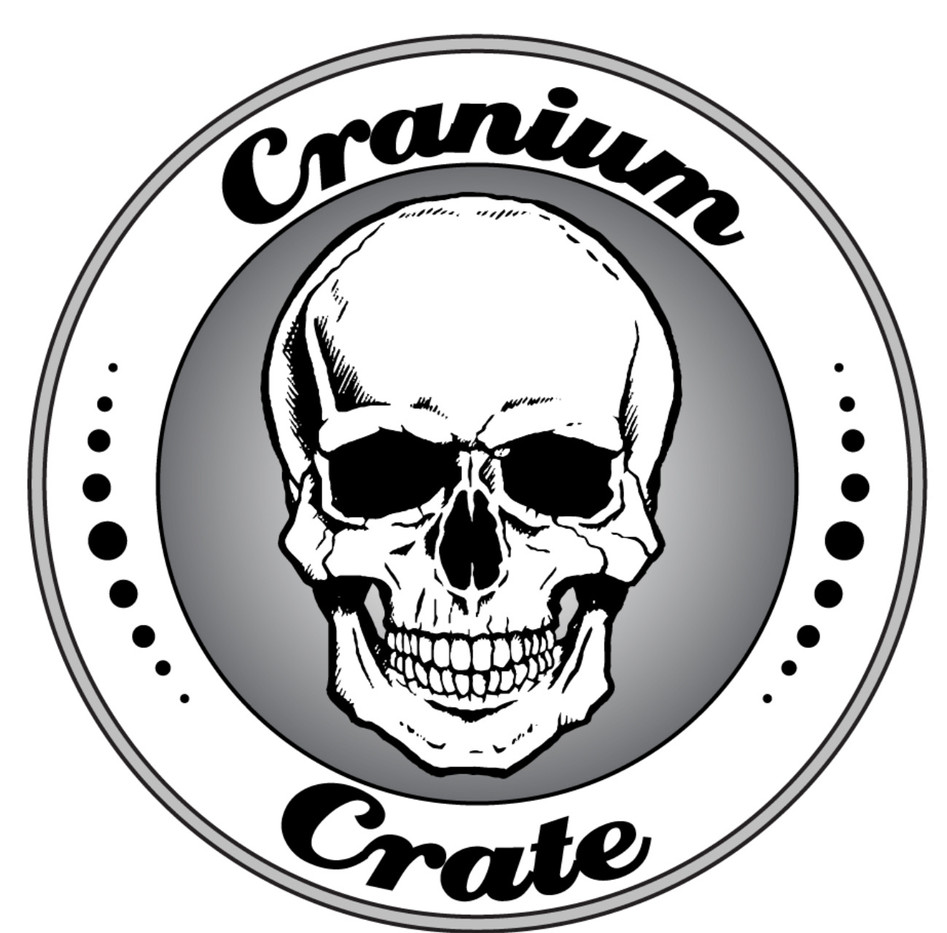 custom logo of a skull in a circle for Cranium Crate