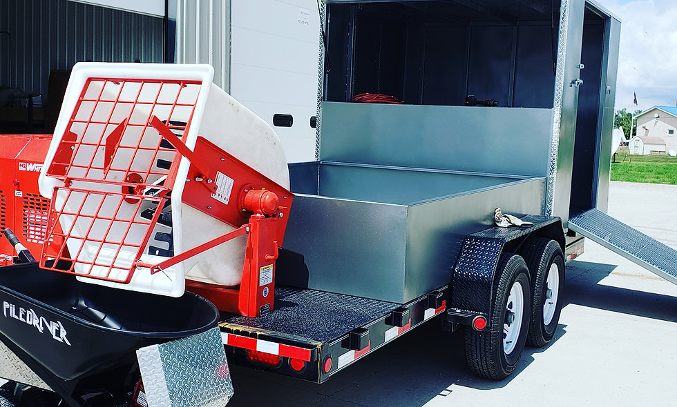 Extreme 20 Curbing Trailer with mixer mounted