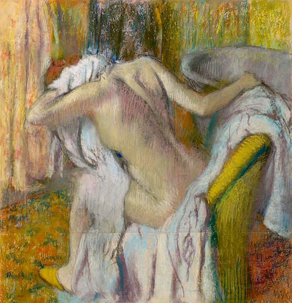 "Edgar Degas, After the Bath, Woman Drying Herself, circa 1890–1895, 41"" x 39""."