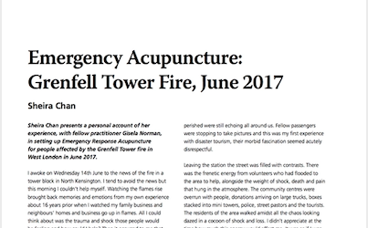 How we used Acupuncture to help the survivors and residents of The Grenfell Fire in 2017