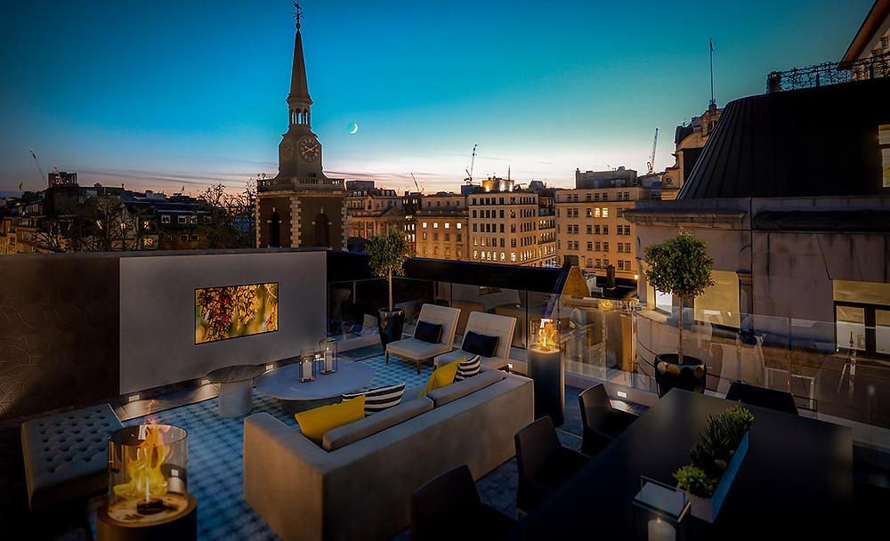 London moonlit roof terrace