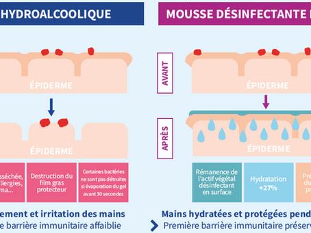 Quelles différences entre une Mousse désinfectante et un Gel hydroalcoolique ?