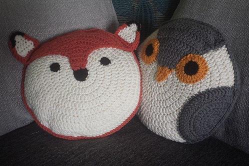 Owl and fox cushion