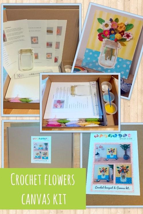 Crochet flower canvas kit