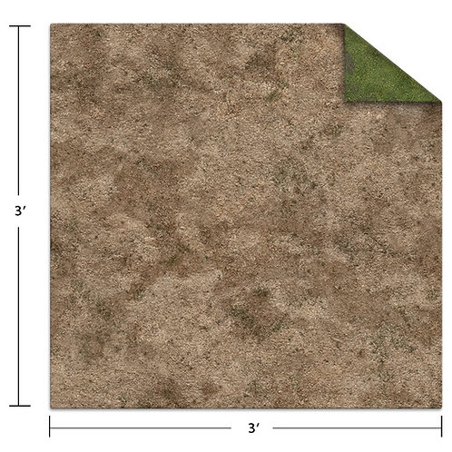 3x3 Game Mat - Broken Grassland / Desert Scrubland