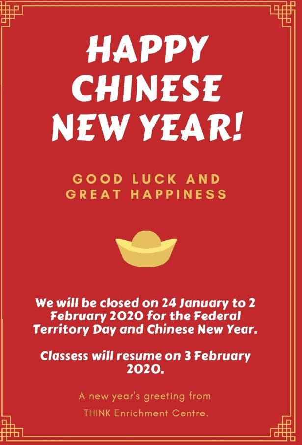 Holiday Notice for Chinese New Year