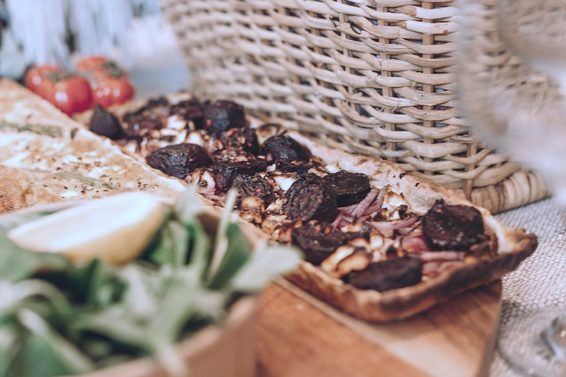 picnic basket with homemade tart
