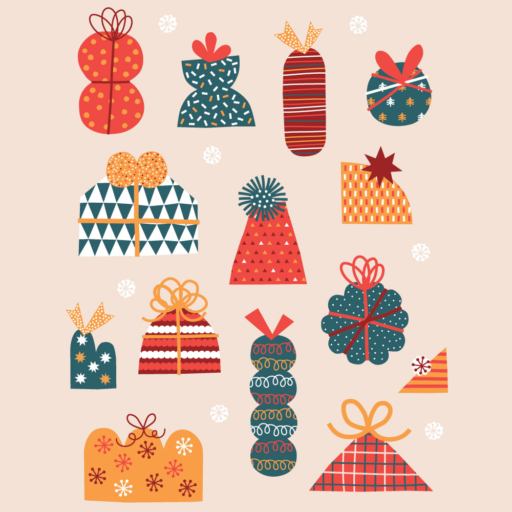 Christmas presents card design