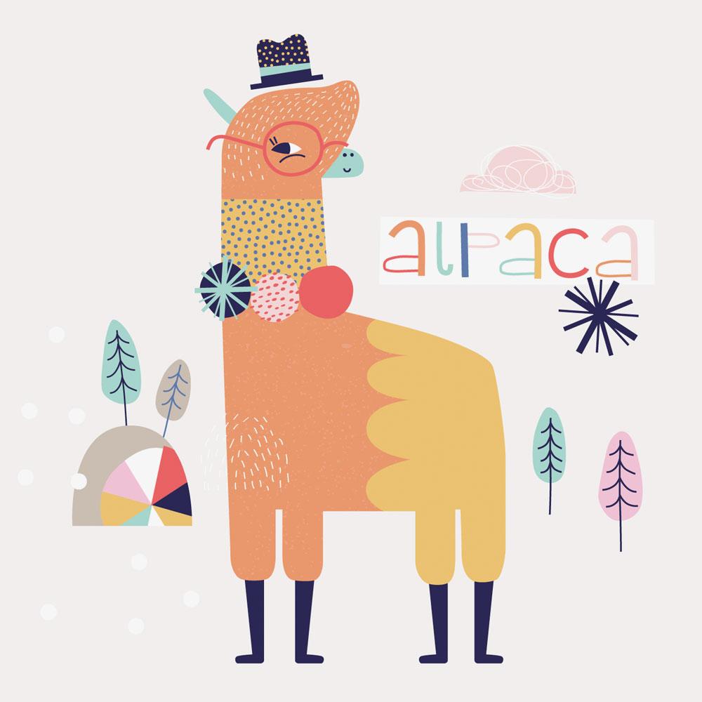 artwork of alpaca alphabet book