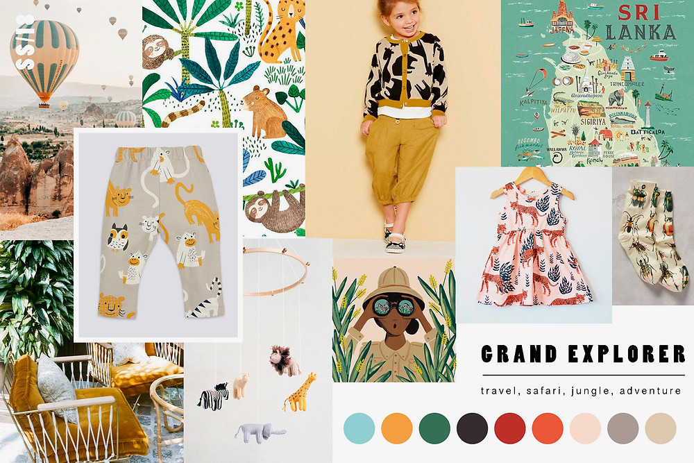 Trend board of children's apparel and surface design for SS18
