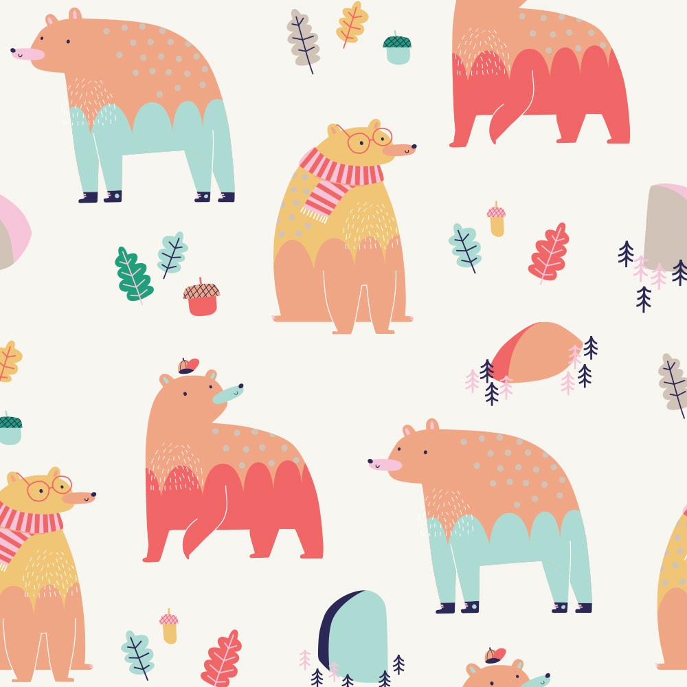 Repeating bear print design
