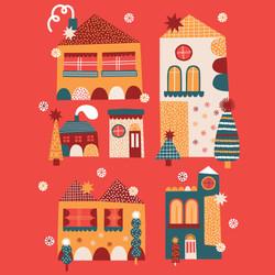 Christmas houses card design