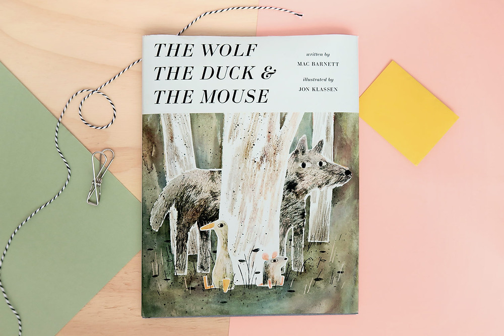 Cover of picture book titles the wolf the duck and the mouse