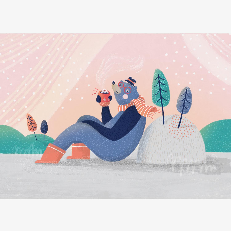 holiday bear drinking in winter