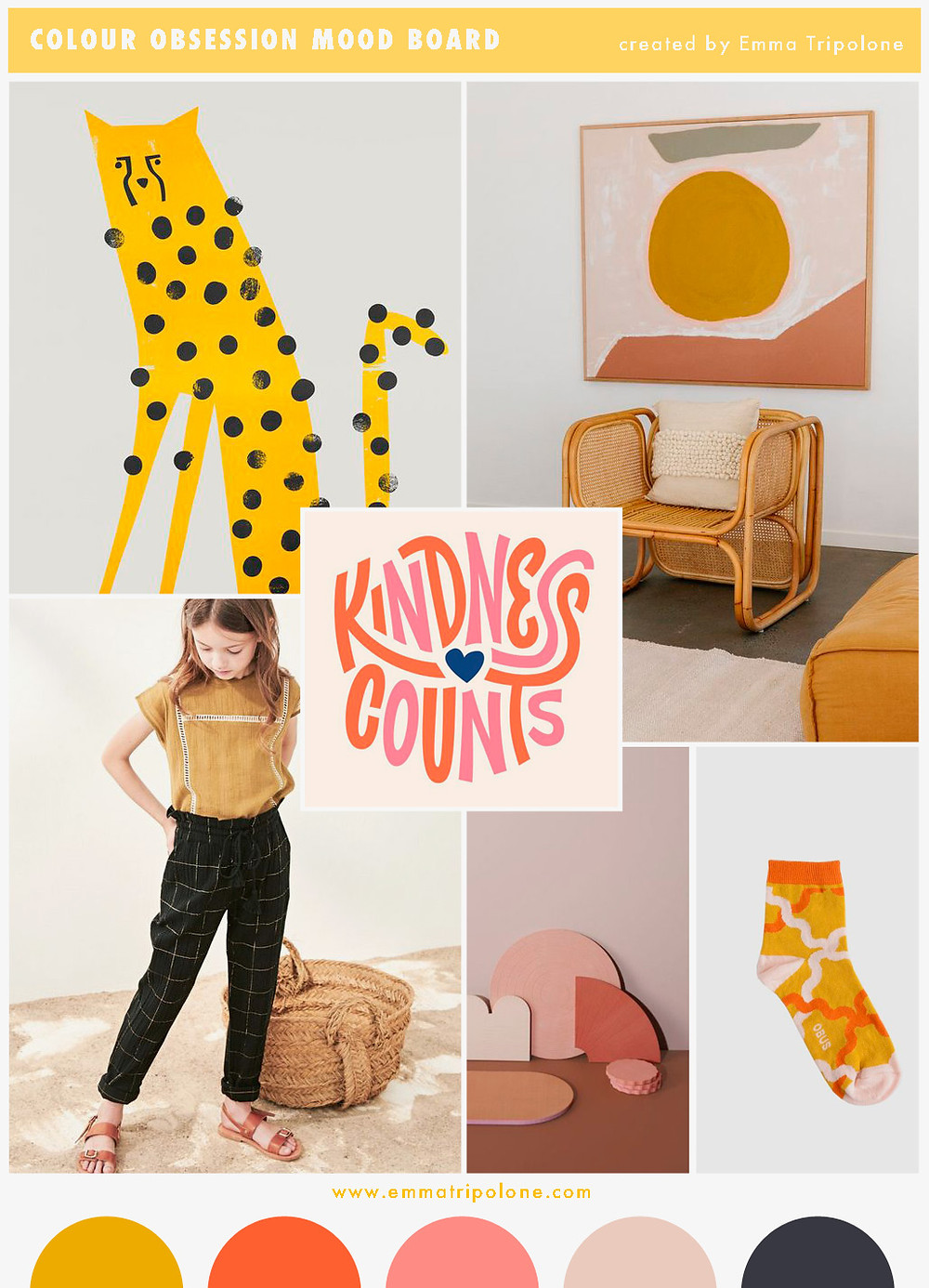 mood board showing golden sunset themed color trend