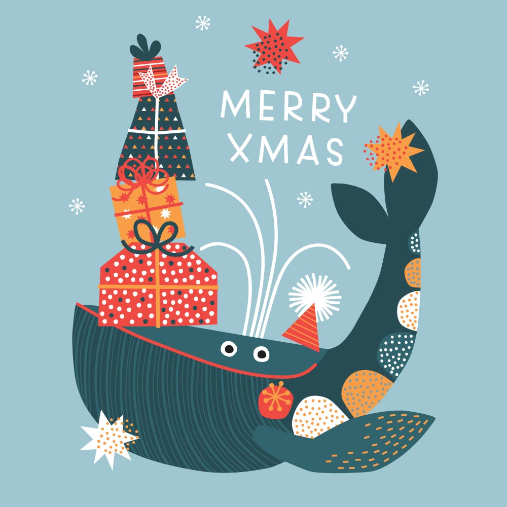 Christmas whale with presents