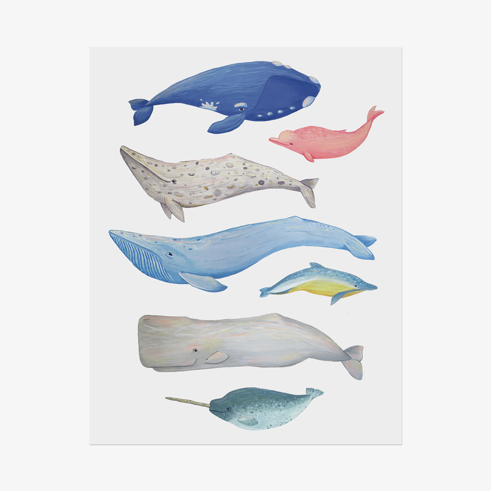 Painting illustration of whales