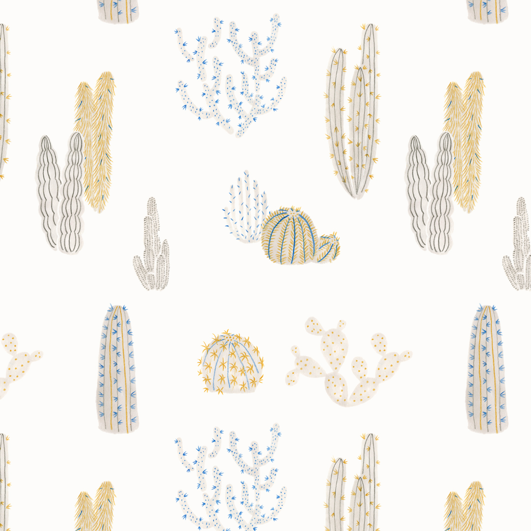 Repeating cactus print design