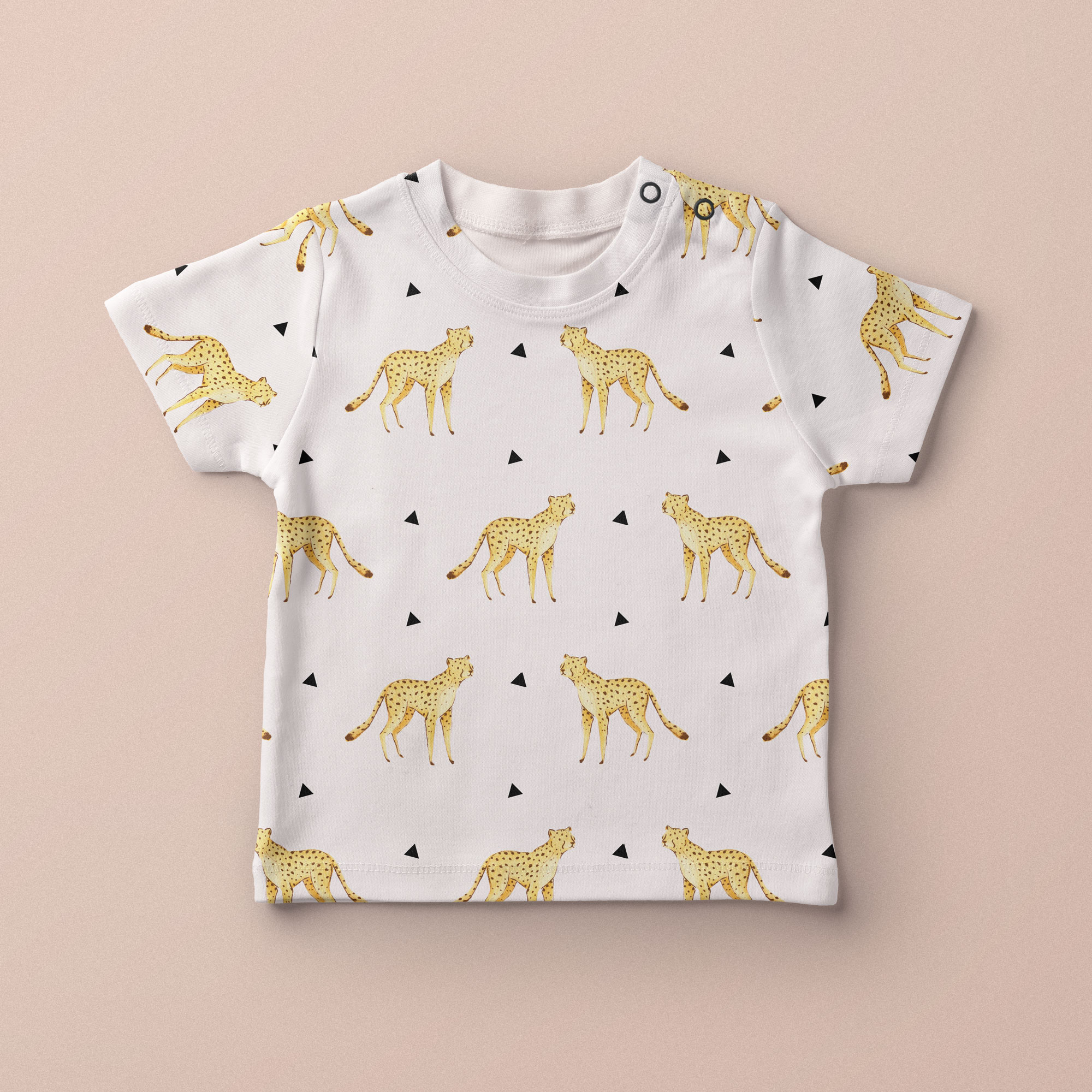 Baby Child Tshirt with Cheetah desig