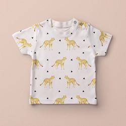Baby Child Tshirt with Cheetah desig