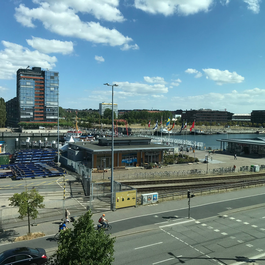 view from the hotel room to the port