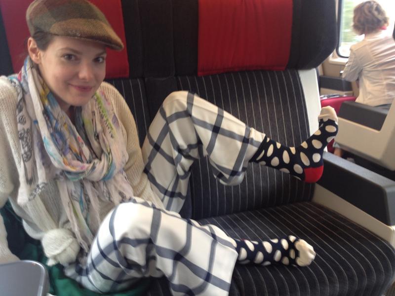 my socks matching Swiss trains : )