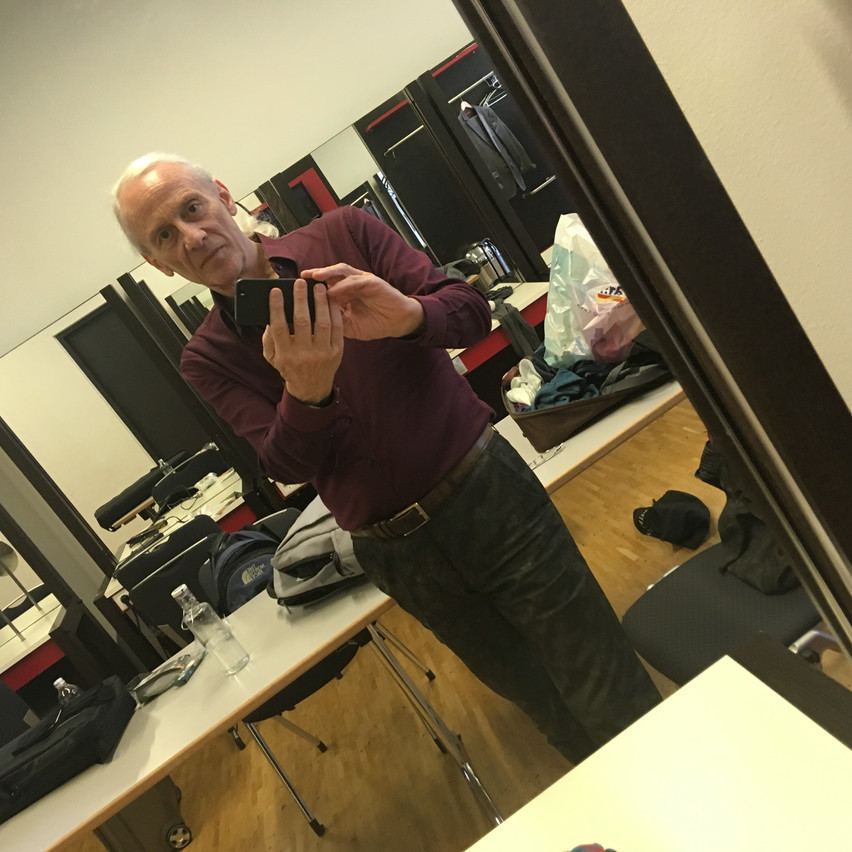 backstage mirror-selfie of mathias