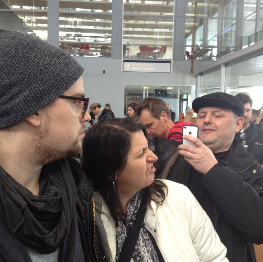 Ingrid, Fab & Hans at the airport