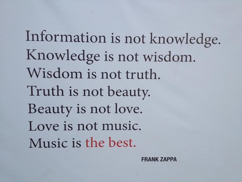 Quote by Zappa backstage