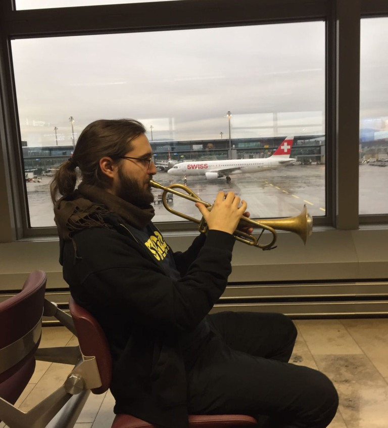 Mario practicing at the airport : )!