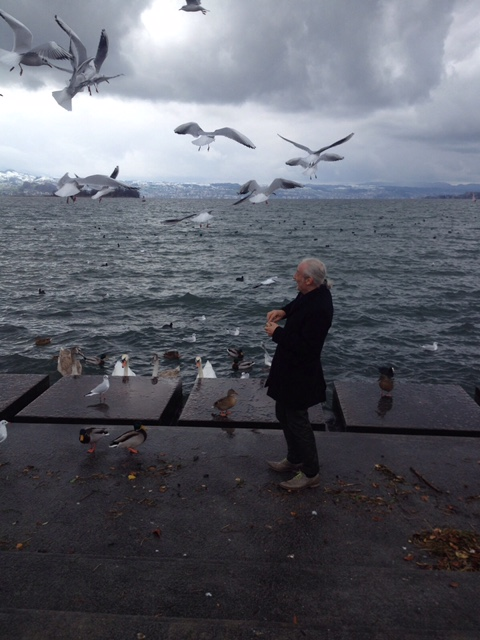 mathias feeding the ducks &