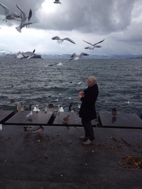mathias feeding the ducks &