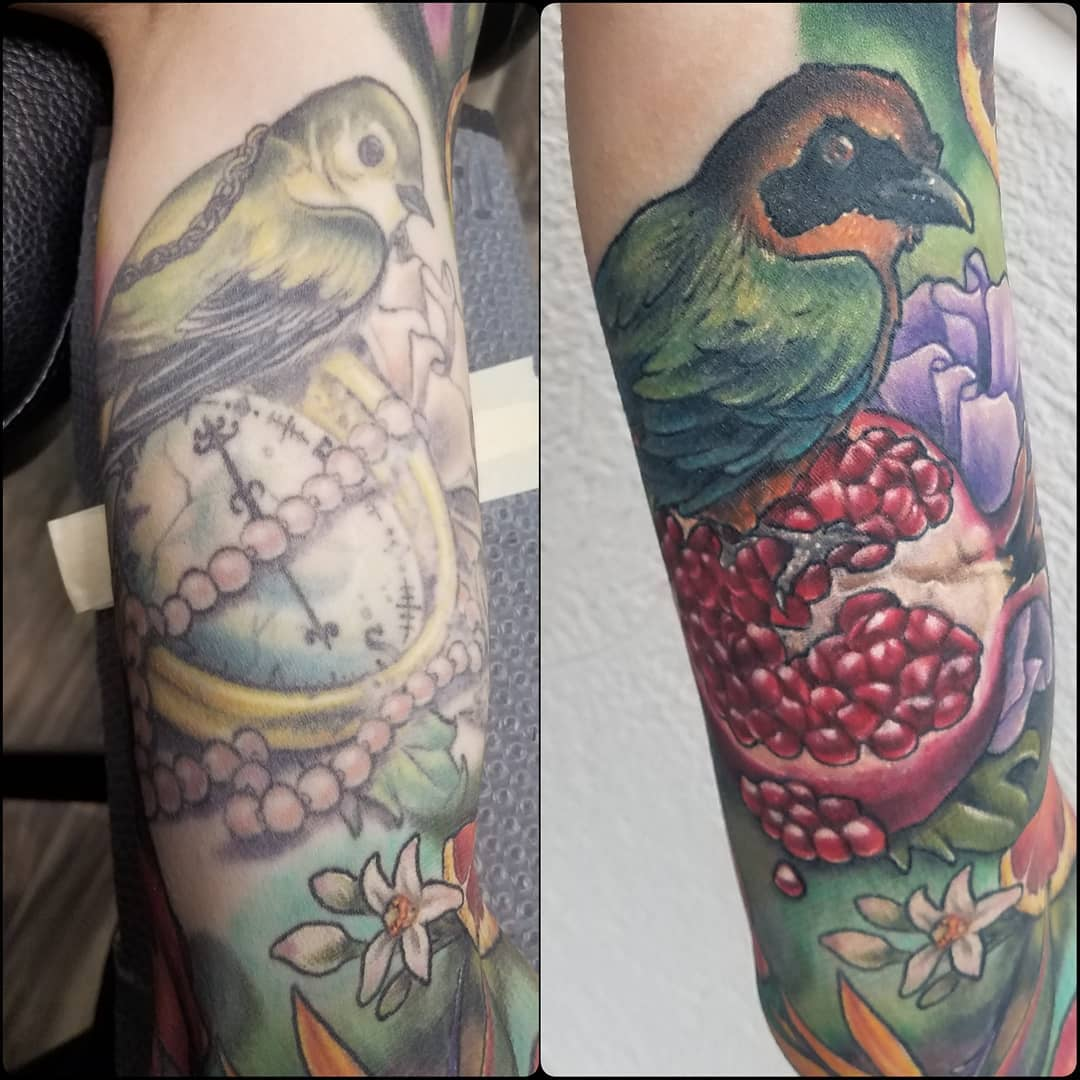Bird and pomegranate cover-up