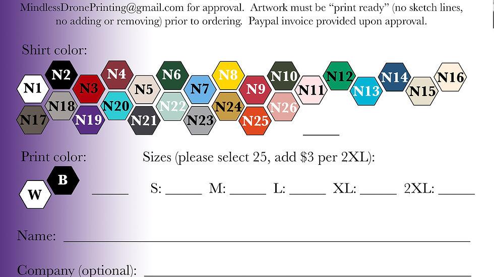 25 Next Level Cotton Ringspun Fine Jersey T-shirts