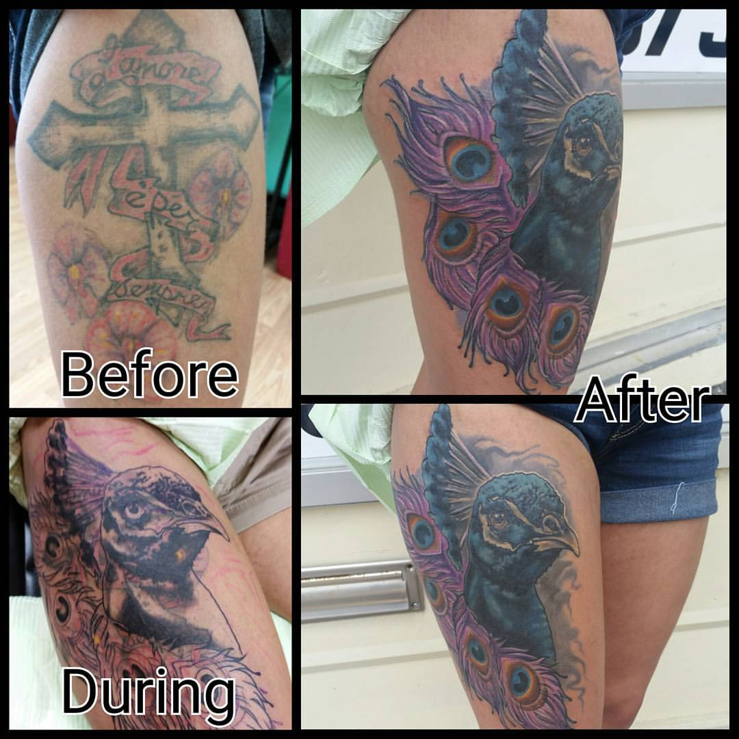 Peacock cover-up process
