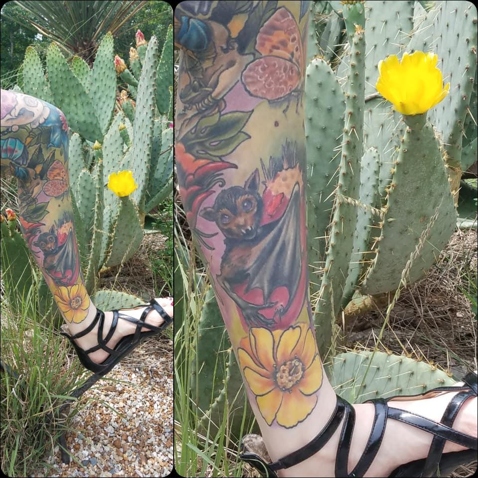 Bat and cacti leg sleeve