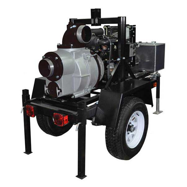 KTH150X - Koshin 6'' Trailer Mounted Trash Pump Honda V-Twin GX670 Gas Engine