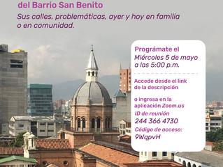 Invitación a tertulia sobre el barrio San Benito, Medellín