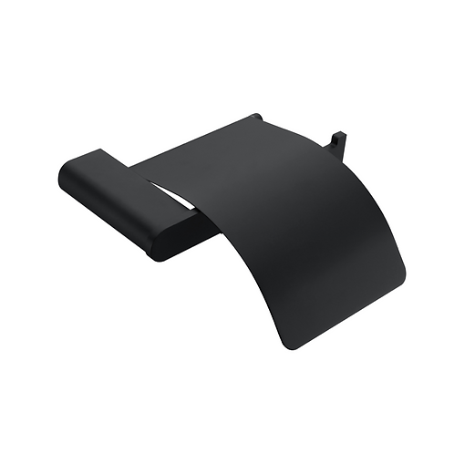 Matt black bathroom toilet roll holder with cover