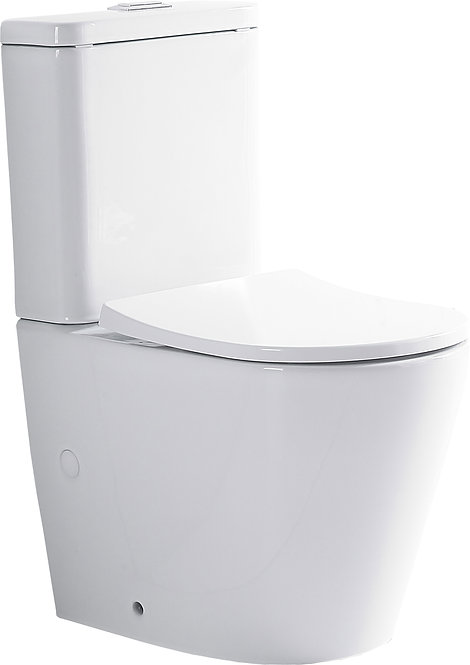 rimless powerful dual flush cistern back to wall toilet suit p/s trap soft closed seat cover