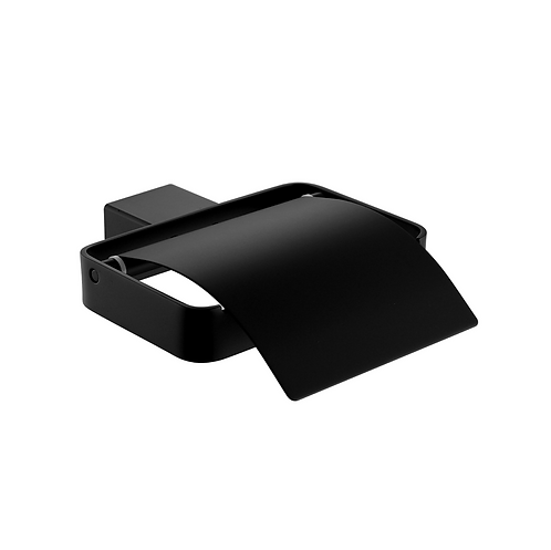 Matt black bathroom square toilet roll holder with cover
