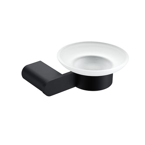 Matt black bathroom frosted glass soap holder
