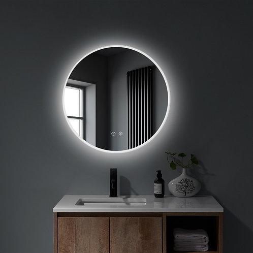 Matt Framed LED Round Mirror | Demister | 800*800
