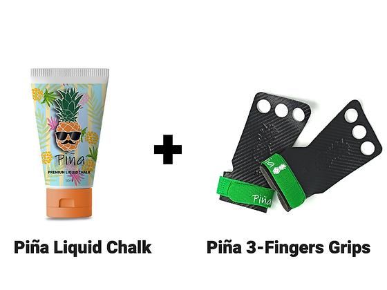 סט למתח - Piña 3 Fingers Grips + Liquid Chalk