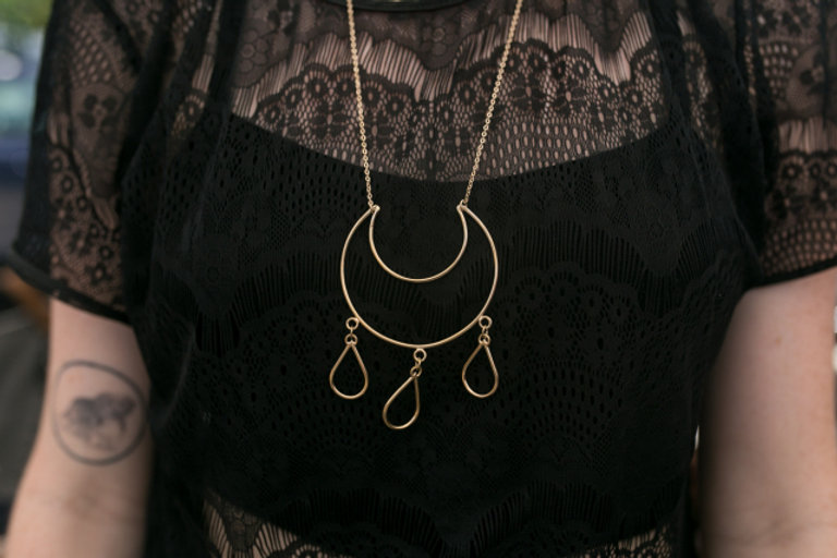 Moon & Teardrop necklace by Madeleine Fields Jewelry